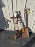 "Metal Potato Planter & Shovel with Wood Handle – Shovel is 35 1/2"" tall"