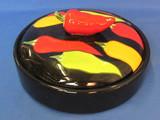 "Black Ceramic Dish with Pepper Motif – 7 1/2"" in diameter"