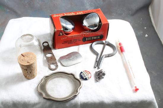 Vintage Smalls Lot AC Jar, Land 'O Lakes, Skate Key, Thermos Cork, Baldwin