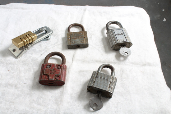 Vintage Lot of Padlocks Some with Keys Big Cast, Yale, Fortress, Slaymaker
