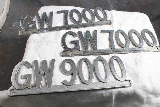 """3 Metal Gross Vehicle Weight Truck/Trailer Emblems 9 1/2"""" Long"""
