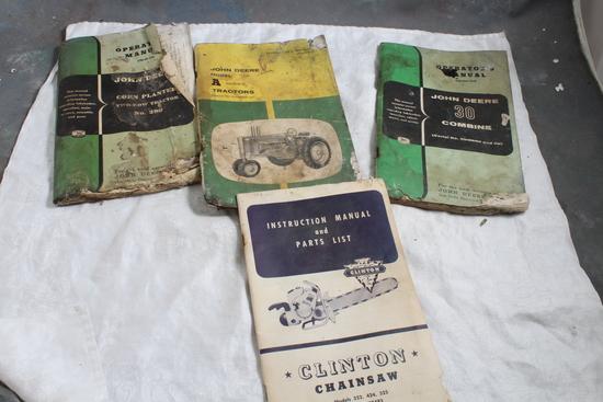 4 Vintage Instruction & Operator Manuals John Deere & Clinton Chainsaw