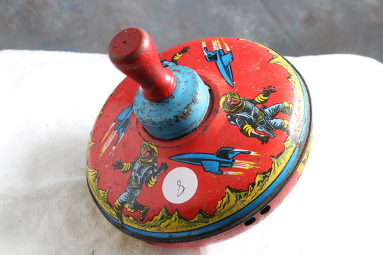 Vintage Outer Space Astronauts & Rockets Metal Spinning Top Working Order
