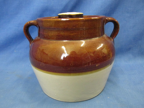"Vintage Stoneware Bean Pot (and a lid) 6"" T x 6"" W (base with a 4 1/2"" DIA Lid"