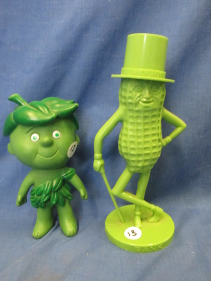 "Vintage Advertising Characters:  8 1/2"" T Mr. Peanut Green Plastic Bank & 7"" T Sprout"