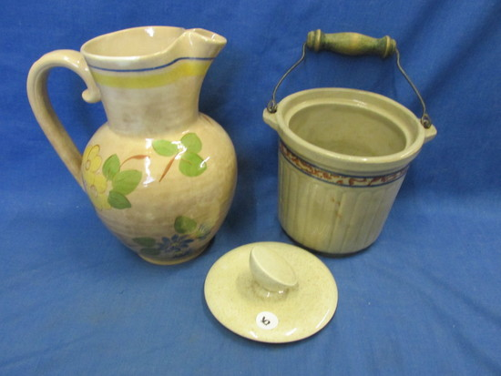 "Vintage Red Wing Pottery – Yellow Rose Brittany Pitcher9 1/4"" T  & Fridge Storage Crock"