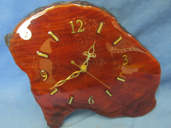 "Tree Slice Wall Clock – 10 1/2"" T x 13"" W – 1"" Thick Piece of tree trunk – Varnished"