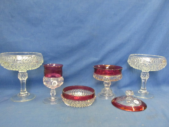 Ruby & Cranberry Flashed Glass, Diamond Point Compotes & Mint Dish,  2 Thumbprint pcs.