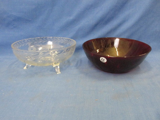 "2 Vintage Glass Bowls:9"" DIA  Ruby & Footed Clear Glass cut with Floral design  8 3/4"""