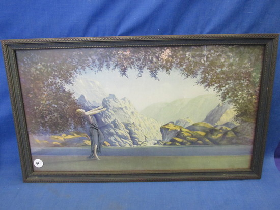 "Vintage Print of Woman in Mountains – style of Max Parrish –11 1/4"" T x 19"" W"
