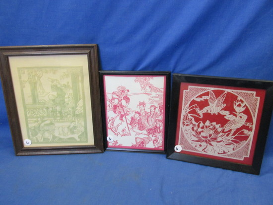 3 Vintage Decorative Art –  3 Cut-out colored paper on White One Cut out White on Red