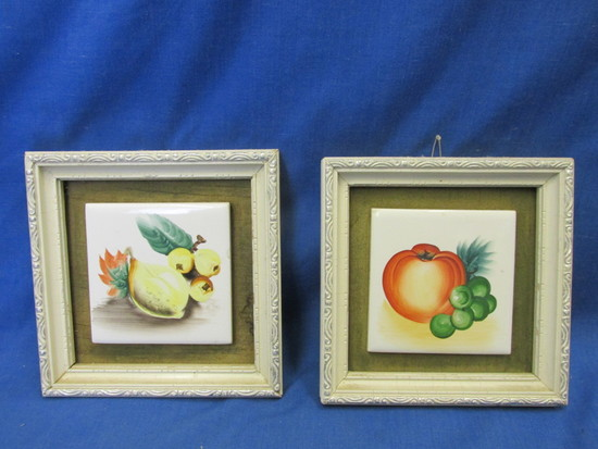 "2 Framed  3"" Square Tiles Painted with Fruit – Vintage 1950's Japan"