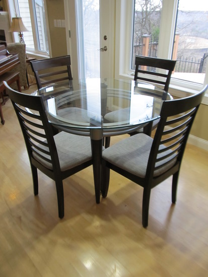 Glass Table with 4 Upholstered Chairs