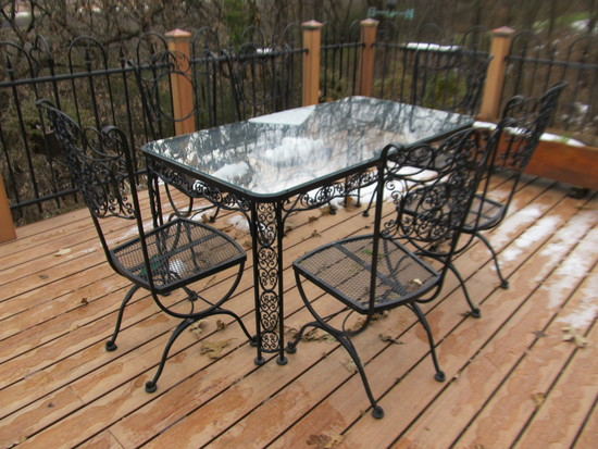 Vintage Wrought Iron Table with Chairs