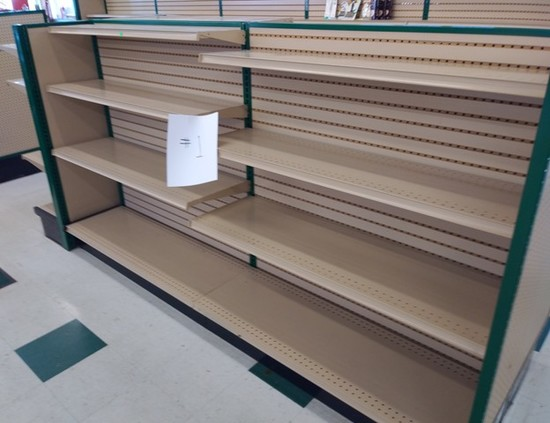 """Lozier Retail Shelving 54"""" High Double Sided, Hunter Green Steel Framing and Tan Shelves/Pegboard"""