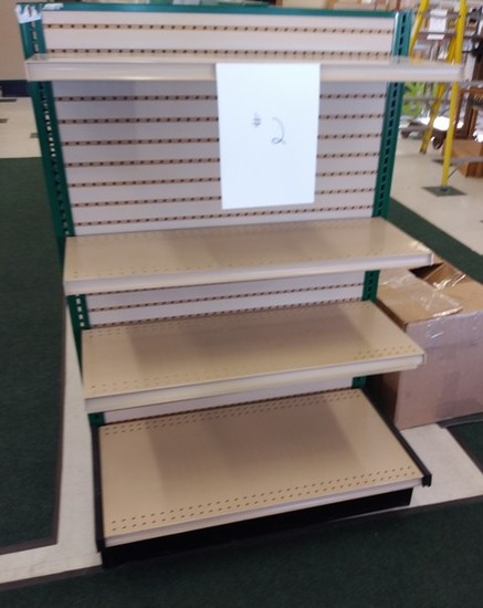 """Lozier End Cap Display 54"""" High X  3' Wide -  Hunter Green/Tan, Includes 3 add on Shelves"""