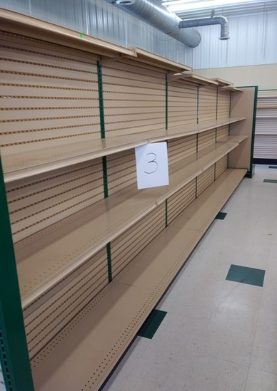 """Lozier Retail Shelving 72"""" High Double Sided, Hunter Green Steel Framing and Tan Shelves/Pegboard"""