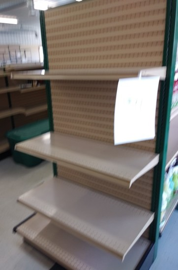 """Lozier End Cap Display 72"""" x 3'  Hunter Green/Tan, Includes 3 add on shelves"""