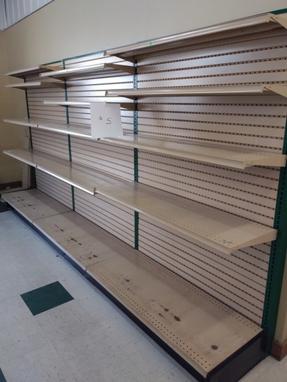 """Lozier Retail Shelving 72"""" High Wall Mount Single Sided, Hunter Green Steel and Tan Shelves/Pegboard"""