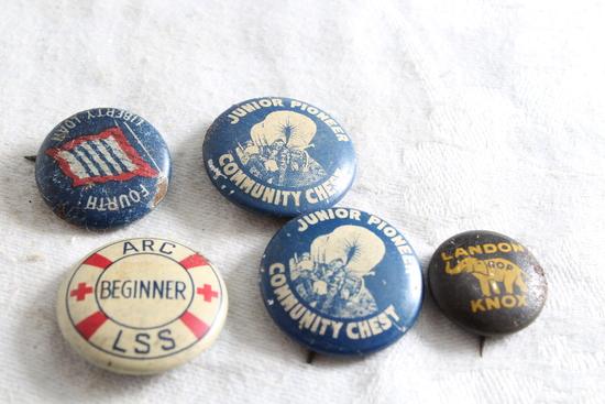 Lot of Antique Political Pinbacks Liberty Loan, Community Chest, Landon/Knox,