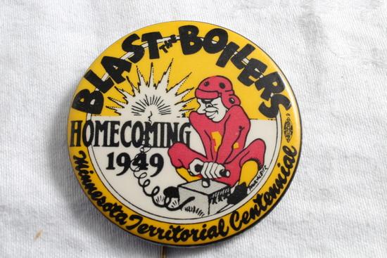 1949 U of M Gophers vs Purdue Homecoming Pinback Blast the Boilers