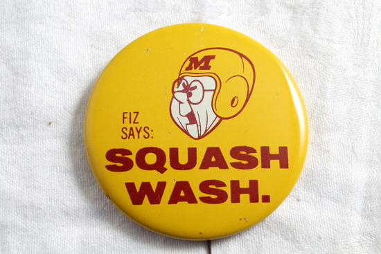 1961 U of M Gophers Rose Bowl Pinback Squash Wash