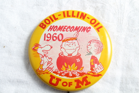 1960 U of M Gophers vs Illinois Homecoming Pinback Boil-Illin-Oil