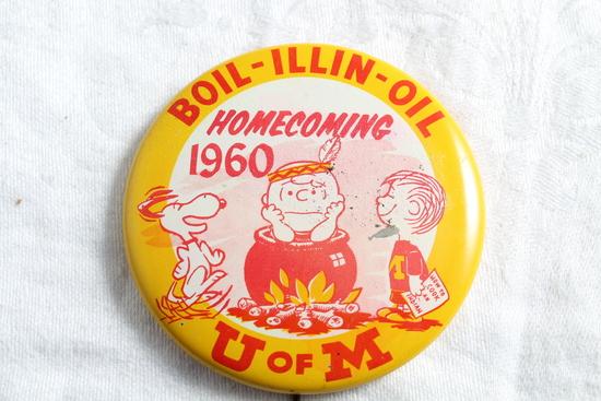 1960 U of M Gophers vs Illinois Homecoming Pinback Boil-Illin-Oil