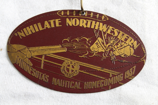 1937 U of M Gophers vs Northwestern Homecoming Pinback Nihilate Northwestern