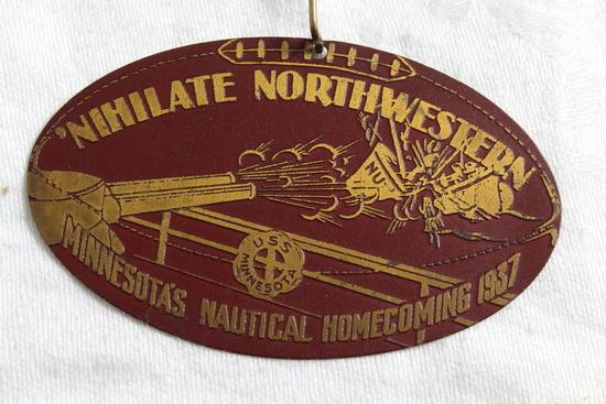 1937 U of M Gophers vs Northwestern Homecoming Pinback Nihilate Northwestern