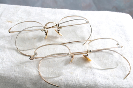 2 Pair of 12kt Gold Filled Antique Eyeglasses SHURON in Good Condition