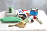 Junk Drawer Lot Circus Band Harmonica, Marbles, Lighters, Cookie Cutter with