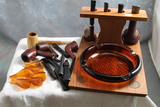 Vintage Pipe Stand Combo Ashtray with 5 Complete Pipes & Misc. Pipe Pieces