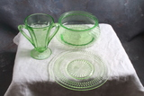 3 Pieces of Vaseline Uranium Glass SUGAR, Bread Plate & Ribbed Bowl