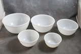 Fire King Complete Set of 5 White Swirl Mixing Bowls 5