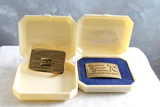 2 Brass ABC Belt Buckles 1959-60 & 1968-69 American Bowling Congress in Case