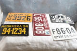 1953 & 1954 Wheaties Cereal Premium Metal Bicycle License Plates (5)