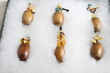 6 Miniature Vintage Musicians Figurals in Barrels Made in Japan in Display Case