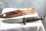 Vintage Japan Fixed Blade Fighting Knife with Leather Sheath Measures 9 1/4