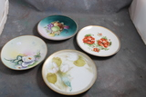 4 Antique Handpainted Plates Meito White Rose 7 7/8