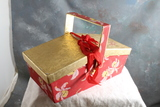Vintage Ambrosia Christmas Candy Box Lunchbox Style in Red & Gold