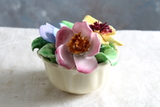Vintage COALPORT #190 Yellow & Pink Floral Basket Figurine Made in England