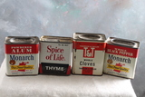 4 Vintage Advertising Spice Tins, T&T, Monarch & McLaughlin Gormley King Co.