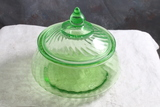 Depression Vaseline Uranium Glass Covered Candy Dish Ribbed Swirl Pattern