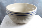 Vintage Red Wing Blue Band Vertical Ribbed Mixing Bowl 9 1/2