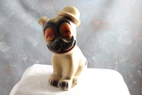 Vintage Hobo Dog with Hat Chalkware Carnival Prize Figurine 7 1/2