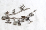 Vintage Sterling Silver Charm Bracelet Made in Italy 11 Charms 34.9 Grams