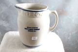 Old Advertising Stoneware Milk Pitcher Compliments Bowe's Corner Hardware