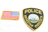 2 Unused Embroidered Patches Rochester Minnesota Police & American Flag