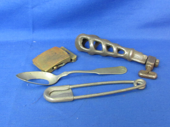 Brazil Silver Spoon – Military Belt Buckle – Laundry Pin Bag & Stove Handle